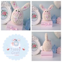 Small Bunny on a Block - Ivory and Pink