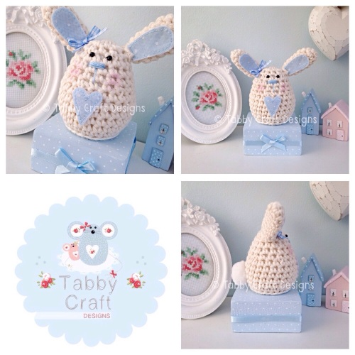 Small Bunny on a Block - Ivory and Blue