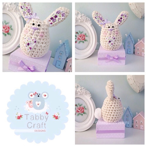 Small Bunny on a Block - Ivory and Lilac