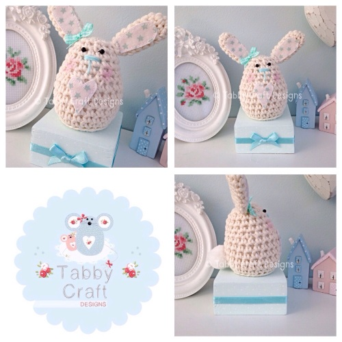 Small Bunny on a Block - Ivory and Duckegg