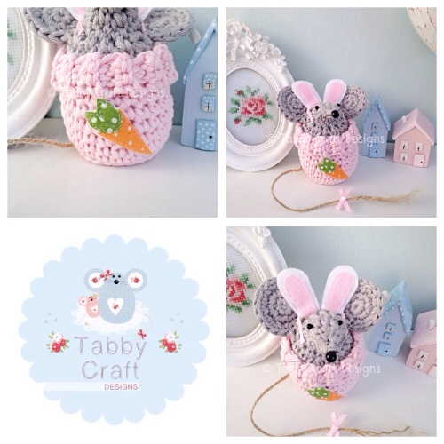 Small Dress Up Bunny Mouse - Grey and Pink