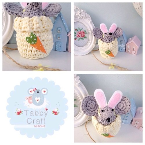 Small Dress Up Bunny Mouse - Grey and Lemon