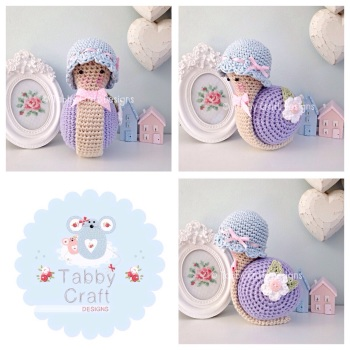 Little Snail with Hat - Light Blue and Lilac