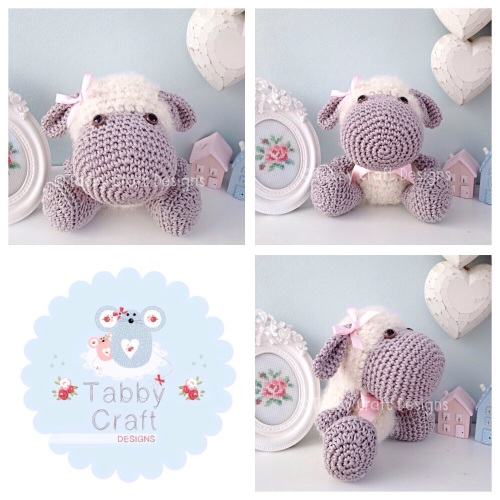 Little Fluffy Lamb  - Ivory, Grey and Pink