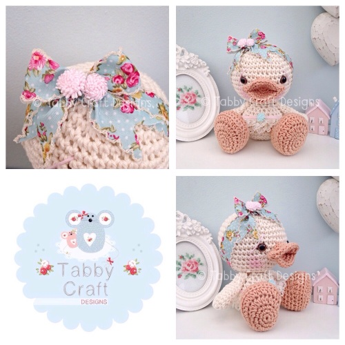 Duckie with Large Bow and Skirt - Ivory and Duck Egg Floral