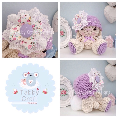 Bunny with Hat with Fabric Flower - Ivory and Lilac