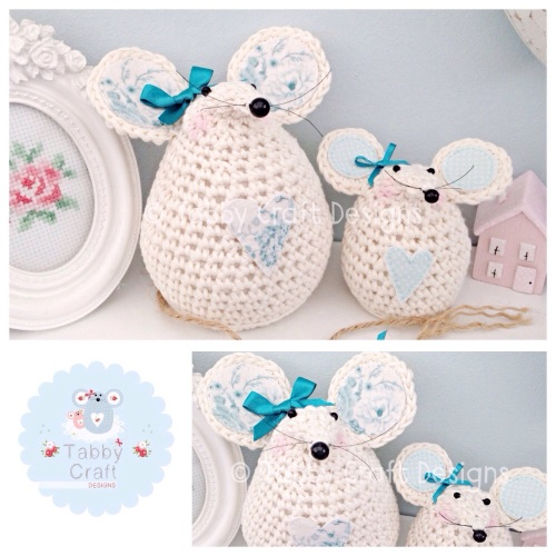 Floral Mouse  Set - Ivory and Teal