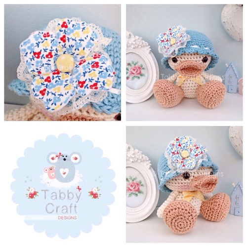 Duckie with Hat and Large Flower - Ivory and Blue