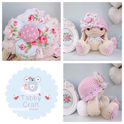 Bunny with Hat and Fabric Flower - Ivory, Blue and Pink