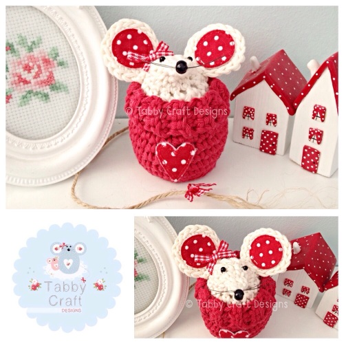 Small Jumper Mouse - Ivory and Red