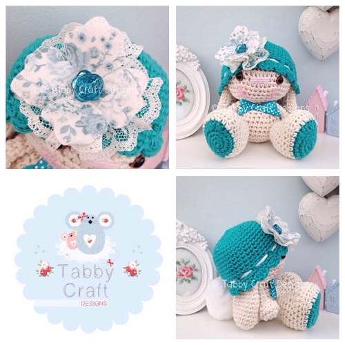 Bunny with Hat and Fabric Flower - Ivory and Teal
