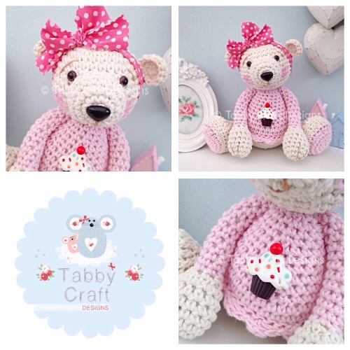 Large Cupcake Teddy Bear - Cream and Pink