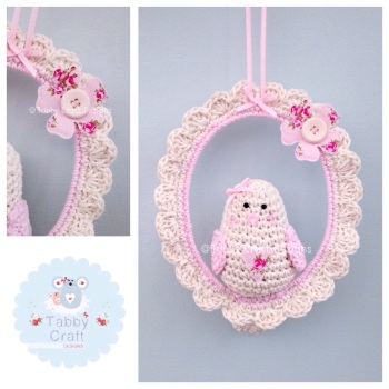 Little Love Birdie on Swing - Ivory and Pink