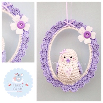 Little Love Birdie on Swing - Ivory and Lilac
