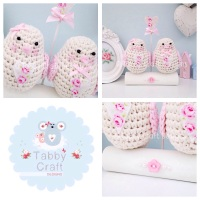 Pair of Little Love Birdies - Ivory and Pink