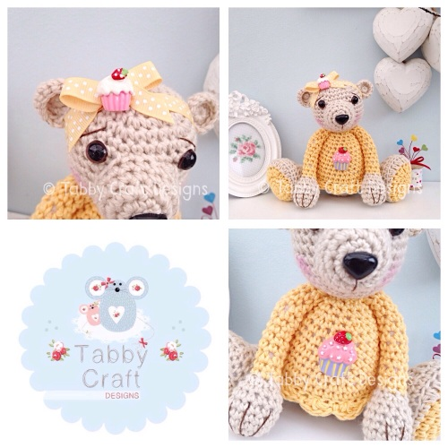 Large Cupcake Teddy Bear - Beige and Yellow