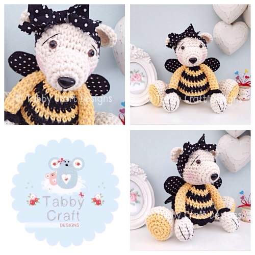 Large Bumblebee Teddy Bear - Beige, Black and Yellow