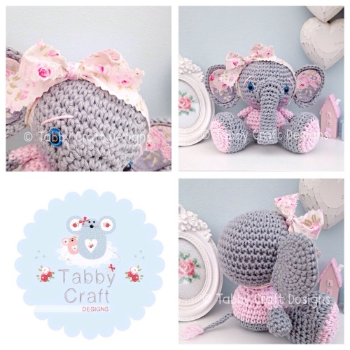 Elephant with Large Bow - Grey and Pink