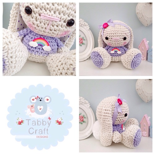 Rainbow Bunny - Ivory, Lilac and Hot Pink