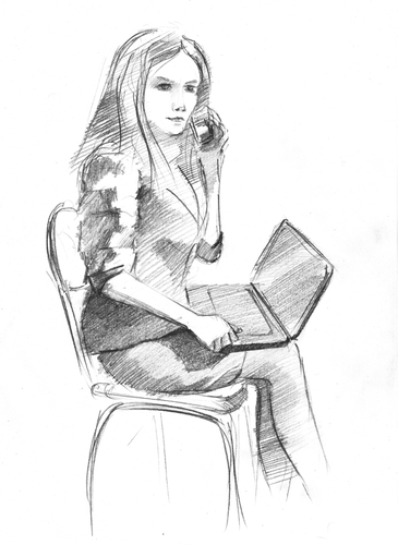 business woman pencil sketch