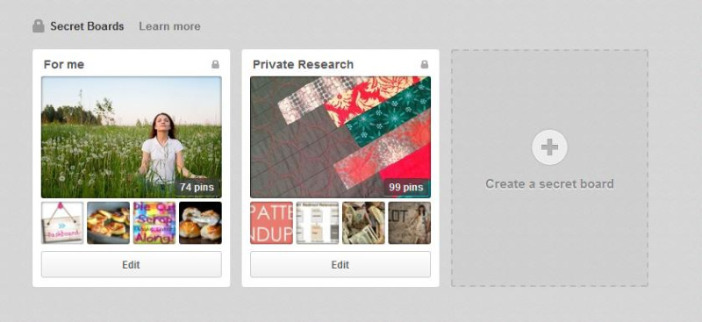 What can I use the secret boards on Pinterest for?