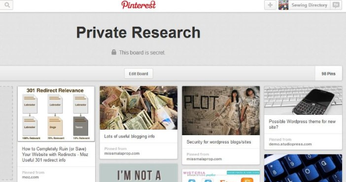 Using private Pinterest boards for research
