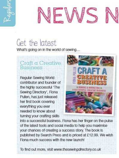 Review of Craft a Creative Business in Sewing World Magazine