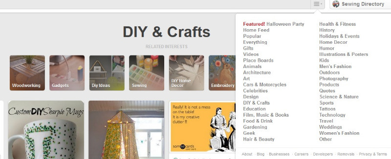 Using Pinterest categories