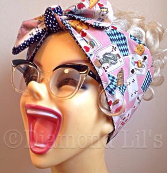 Alice In Wonderland Reversible Head Scarf / Hair Tie