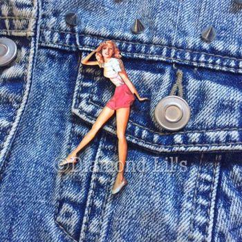 Pin-Up Girl Wooden Brooch (Ivy)