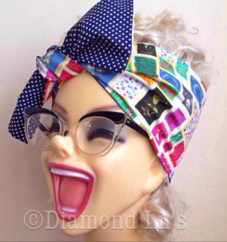 Postage Stamp Reversible Head Scarf / Hair Tie
