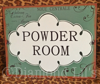 Powder Room Metal Sign