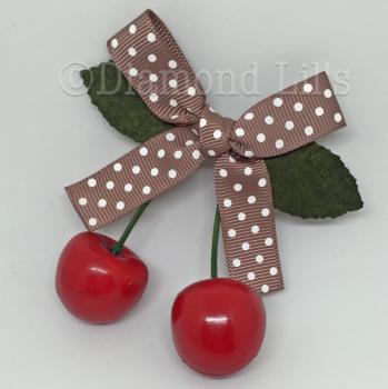 Cherry Hair Clip (Mocha)