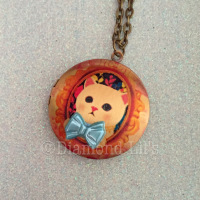 Vintage Kitty Print Locket
