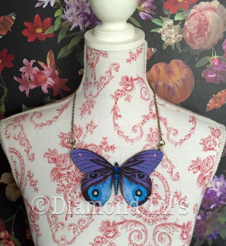 Oversized Butterfly Necklace (Indigo)