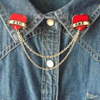 Personalised Tattoo Scroll Collar/Cardigan Pins