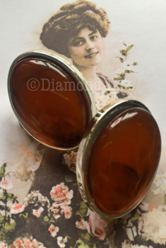 Amber Effect Clip On Earrings