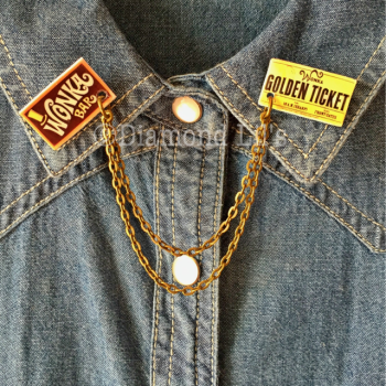 Wonka Bar/ Golden Ticket Collar/Cardigan Pins