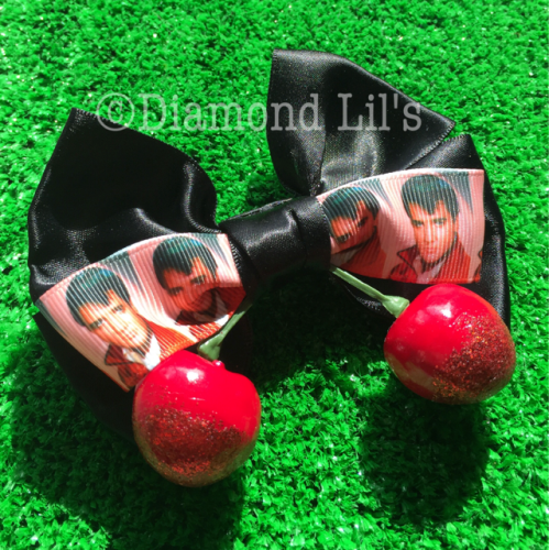 Elvis Hair Bow With Cherries
