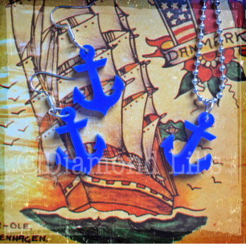 Ahoy! Anchor Necklace & Earring Set (Blue)