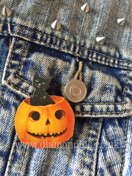 Kitty & Pumpkin Brooch