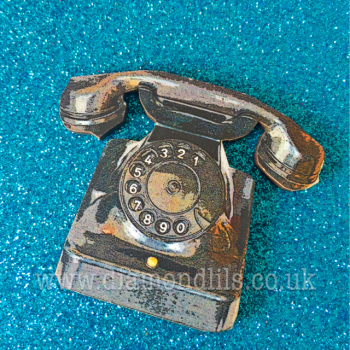 'Call On Me' Black Wooden Retro Telephone Brooch