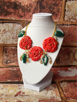 Vintage Red Roses Necklace