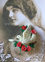Peace Dove Brooch (Red Roses)