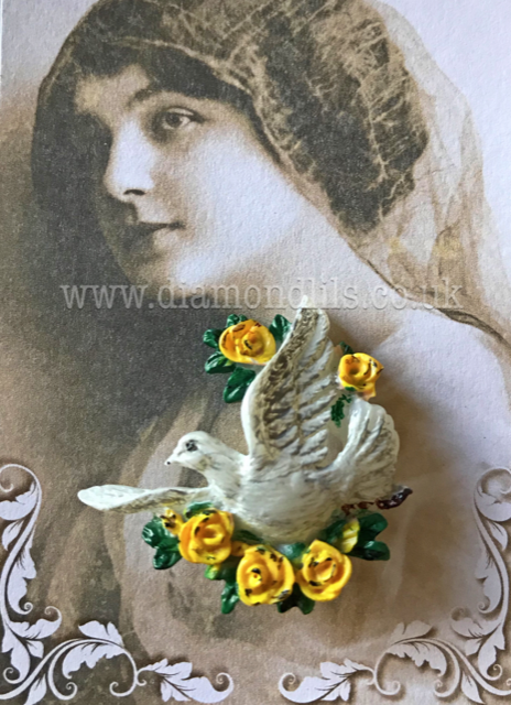 Peace Dove Brooch (Yellow Roses)