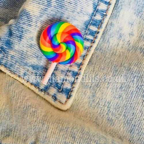 Swirly Rainbow Lolly Brooch