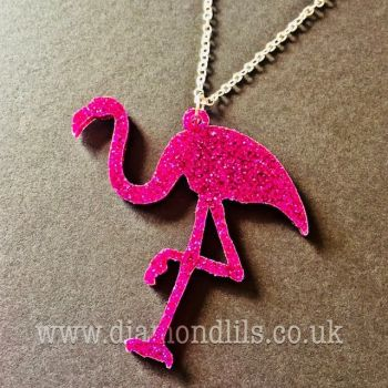 Funky Glitzy Flamingo Necklace
