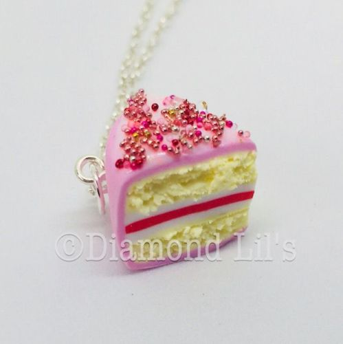 Strawberry Sprinkles Cake Slice Necklace