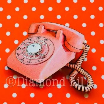 'Call On Me' Pink Wooden Retro Telephone Brooch