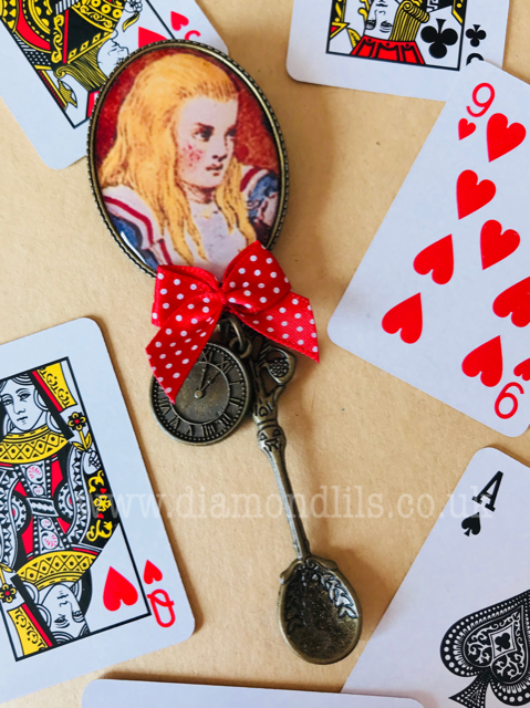 Alice In Wonderland Illustration Brooch